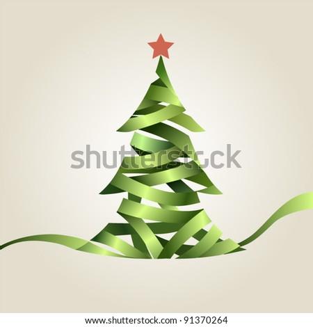 Christmas tree from green ribbon - stock vector
