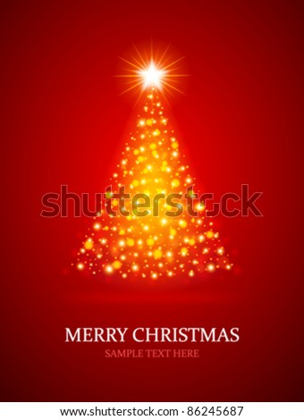 Christmas tree from light vector background. Eps 10. - stock vector