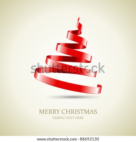 Christmas tree from red ribbon vector background. Eps 10. - stock vector