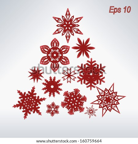 Christmas Tree from red snowflakes