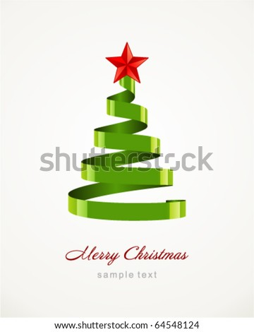 Christmas  tree from ribbon vector background - stock vector