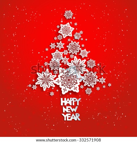 Christmas tree from snowflakes on red. 2016 Happy new year. Design for card, banner, invitation, leaflet and so on. - stock vector