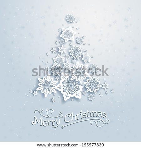 Christmas tree from snowflakes. Vector background with place for text - stock vector