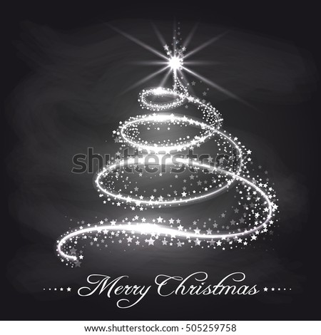 Christmas tree from stars on chalkboard. Christmas background vector