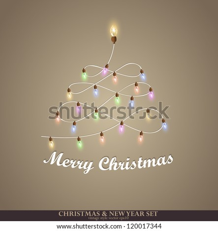 Christmas tree from the garland. Greeting card - stock vector