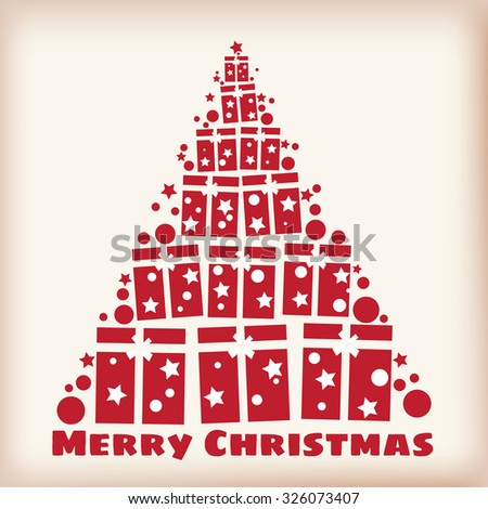 Christmas tree from the gift box stylized, Christmas New Year, vector, banner, illustration