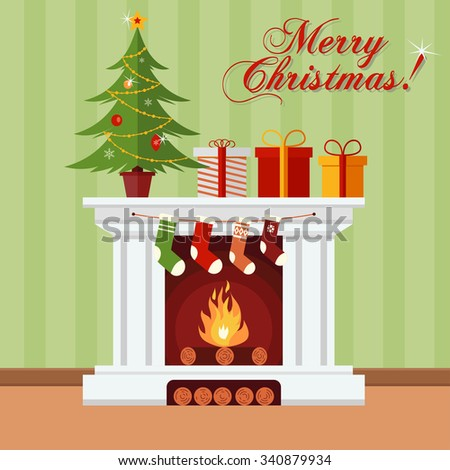 Christmas tree, gifts and stockings on a fireplace. Xmas greeting card - stock vector