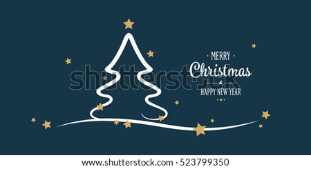 christmas tree gold stars greetings blue background