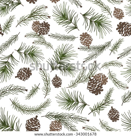 Christmas tree green branches,pine cone  in seamless pattern background.Fir,spruce design element for backdrop,wallpaper,wrap.New year holiday vector - stock vector
