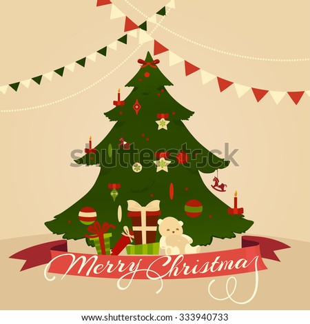 Christmas Tree Greeting Card. Vector Illustration