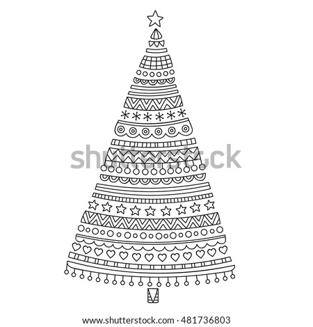 Christmas tree. Hand drawn doodle christmas spruce with stars, hearts and decorative ornament. Simple design for coloring page. Anti-stress outline picture for kids and adult. Isolated.