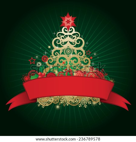 Christmas tree holiday design in gold, red and green with a ribbon for your text copy - stock vector