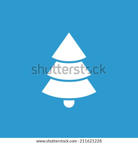 Christmas tree icon, isolated, white on the blue background. Exclusive Symbols