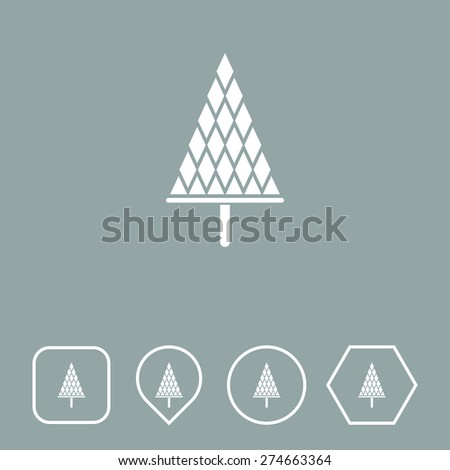 Christmas Tree Icon on Flat UI Colors with Different Shapes. Eps-10. - stock vector