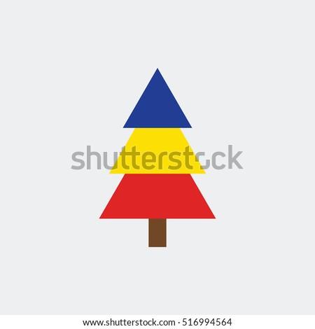 christmas tree icon vector flag of romania