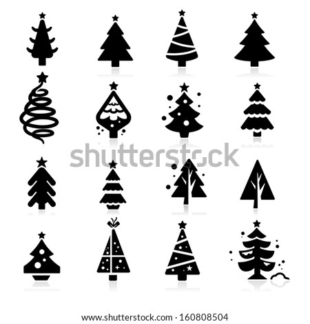Christmas tree icons - stock vector