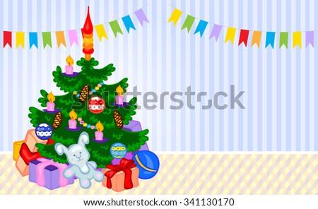Christmas tree in a room. Vector cartoon illustration - stock vector