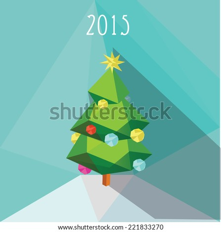 Christmas tree in low polygon style. Vector illustration - stock vector