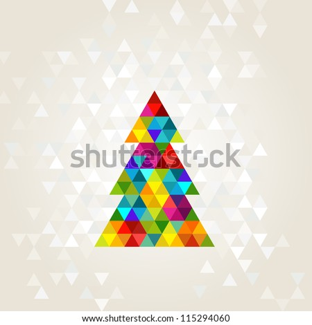 christmas tree in rainbow colors - stock vector