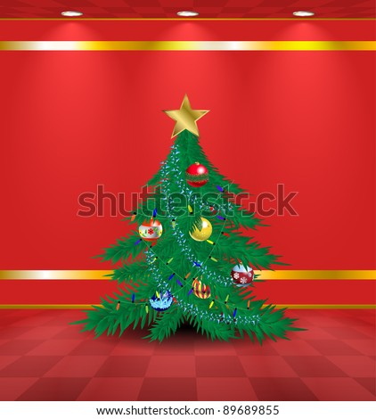 Christmas tree in the red lightened room - stock vector