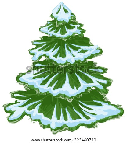 Christmas tree in the snow. Isolated illustrarion