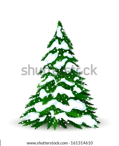 Christmas tree in winter, vector card for design - stock vector