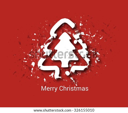 Christmas tree isolated on grunge background - stock vector