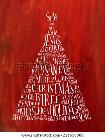 Christmas tree. Label made with related words. Typography Vector design.