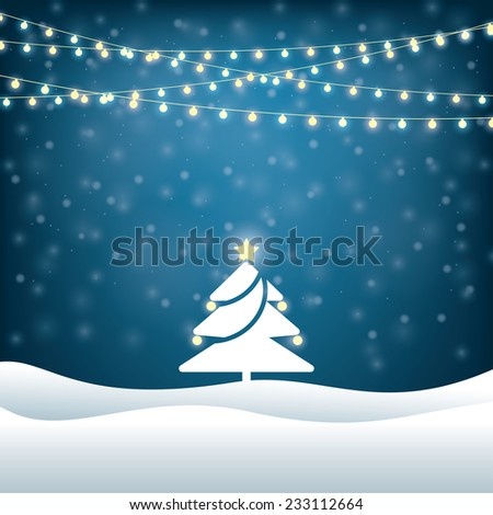 christmas tree lighted garlands. festive background - stock vector