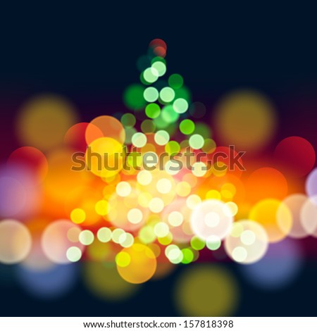 Christmas tree lights background, vector illustration.  - stock vector