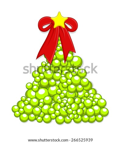 Christmas Tree Made From Balls With Ribbon Bow And Star