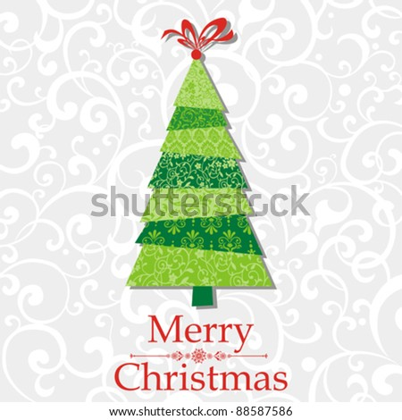 Christmas tree made from pieces of white paper. Original new year card. Vector illustration - stock vector