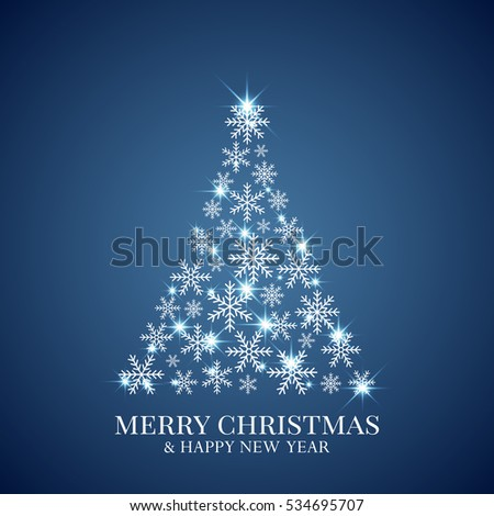 Christmas tree made from snowflakes. Christmas greeting card. Minimal abstract background. Vector illustration. Eps10