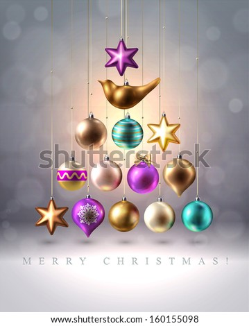 Christmas Tree Made of bright colored Baubles, stars and bird - stock vector