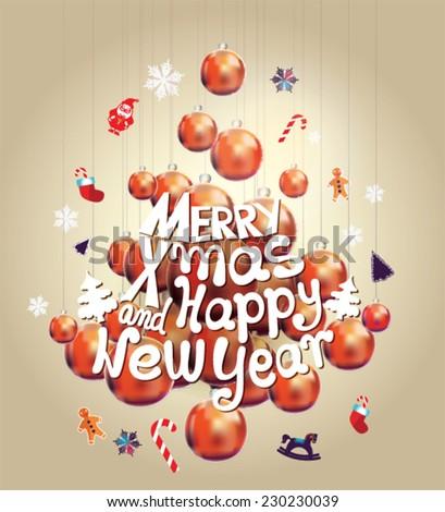 Christmas Tree Made Of Christmas Balls. Christmas Card. Merry X Mas And  Happy