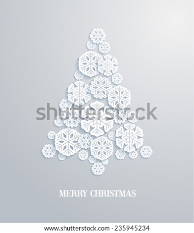 Christmas tree made of paper snowflakes. Vector illustration. - stock vector