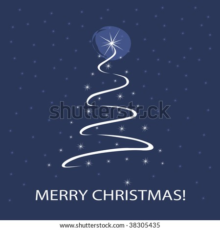 Christmas Tree Made of Stars and Ribbon - Merry Christmas Holiday Background Template Vector Design