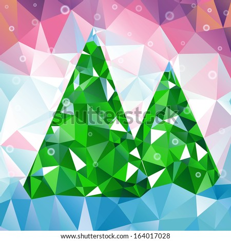Christmas tree made of triangles.. Winter template for your design. - stock vector