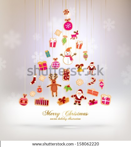 Christmas Tree Made of Xmas icons and elements, blurred snowflakes, vector - stock vector