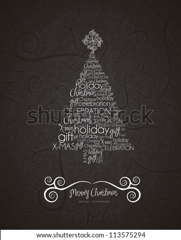 Christmas tree, made with allusive texts , vector illustration - stock vector