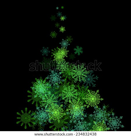 Christmas tree made with snowflakes stream in the darkness - stock vector
