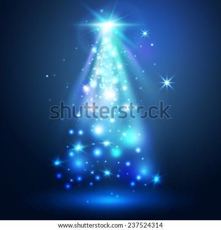 Christmas tree. Magic lights. - stock vector