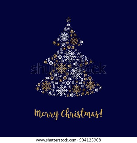 Merry christmas card christmas tree mono stock vector 504125896 christmas tree merry christmas card with calligraphy abstract decorative tree made of gold snowflakes reheart Image collections