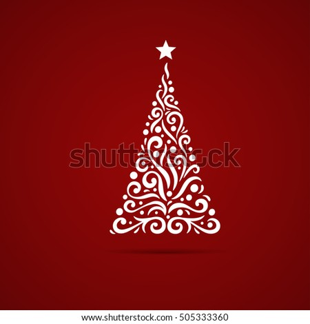 Christmas tree. New Year postcard design, greeting card, banner, vector illustration