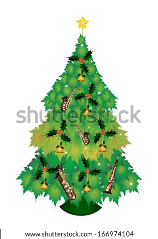 Christmas Tree of Green Maple Leaves Decorated with Christmas Bell, Saxophones and Golden Star Tree Topper, Sign for Christmas Celebration.  - stock vector