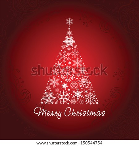 Christmas tree of snowflakes.  New Year background. Vector illustration.