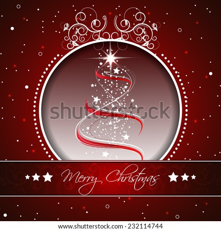 Christmas tree on a red background for your happy holiday and greeting card/vector illustration - stock vector