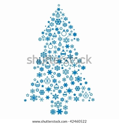 Christmas tree on a white background - stock vector