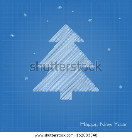Christmas tree on blueprint. Vector illustration. - stock vector