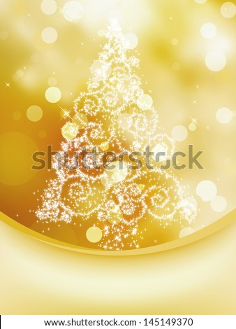 Christmas Tree on bokeh, Greeting Card. EPS 8 vector file included - stock vector